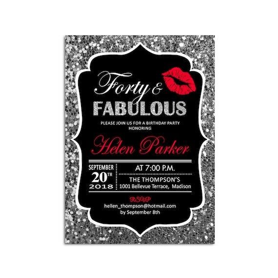 40th Birthday Party Invitation Glitter Silver Black Red