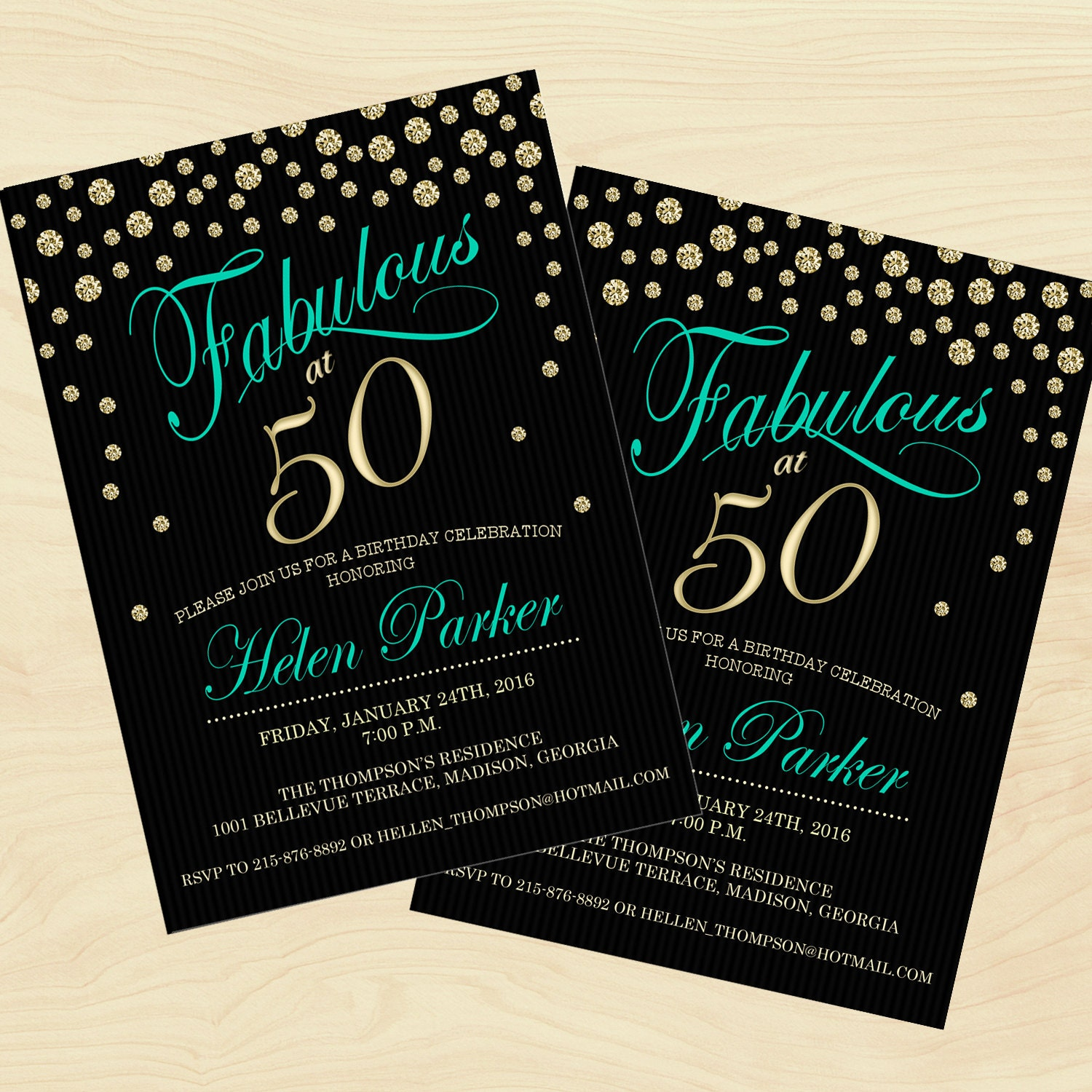 50th Birthday Invitation / Any Age / Black Gold Teal