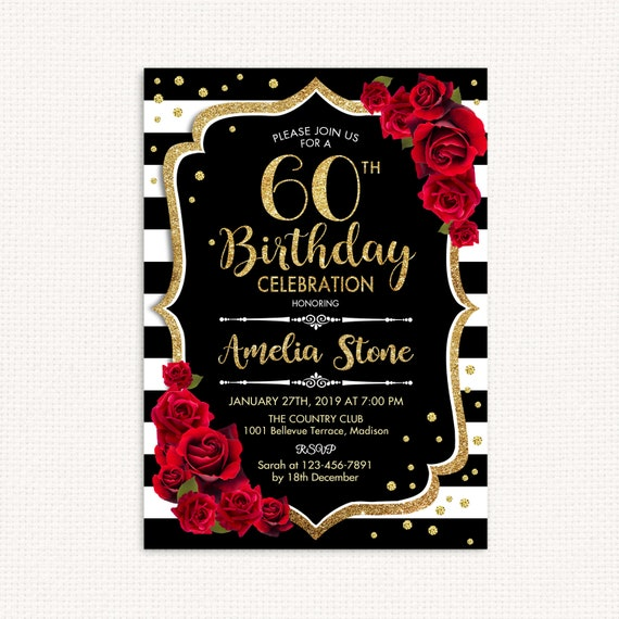60th Birthday Invitation ANY AGE Black White Stripes