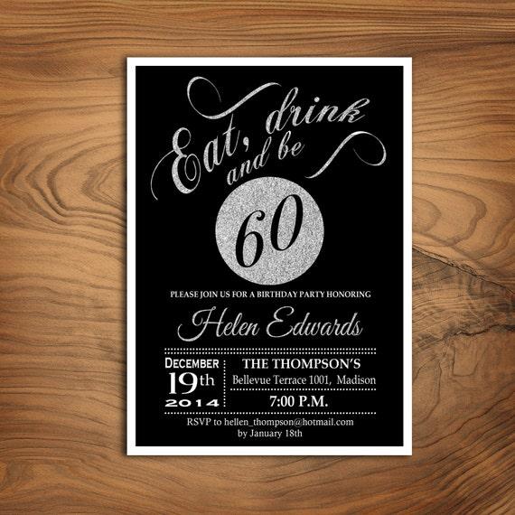 60th Birthday Party Invitation Any Age Silver Black