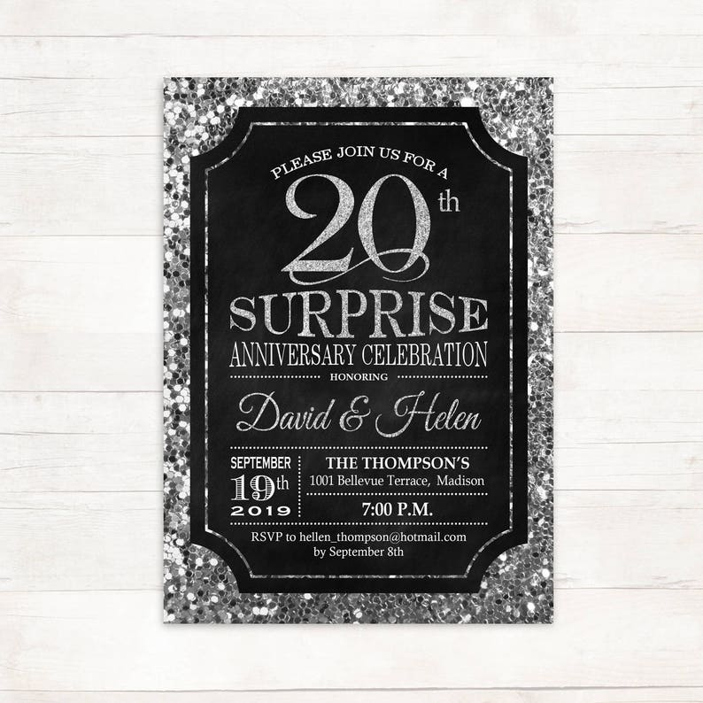 Surprise 20th Wedding Anniversary Invitation 10th 25th Any Year Glitter Silver Black Chalkboard Digital Printable