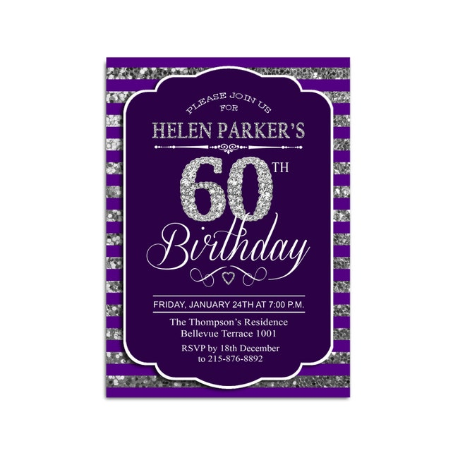 60th Birthday Invitation Any Age Diamonds Purple Silver Glitter Digital Printable Customized