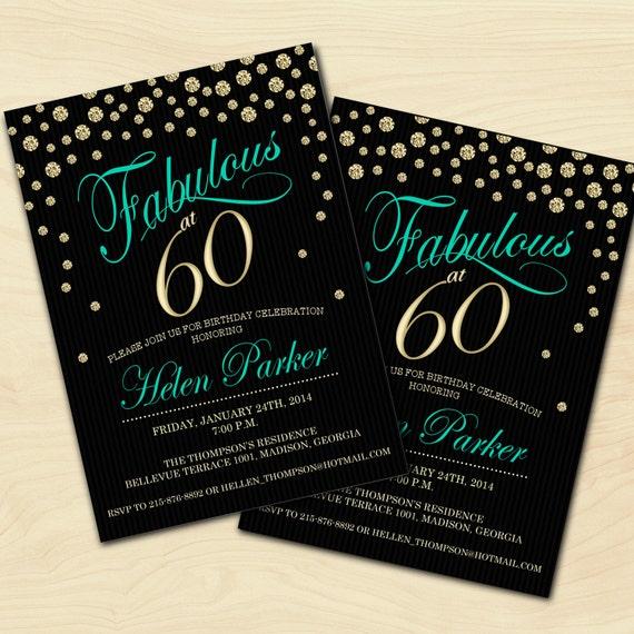 60th Birthday Invitation / 30th / 40th / 50th / Any Age