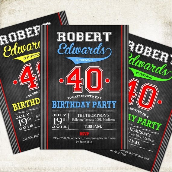 40th Birthday Invitation For Men 30th 50th 60th 70th