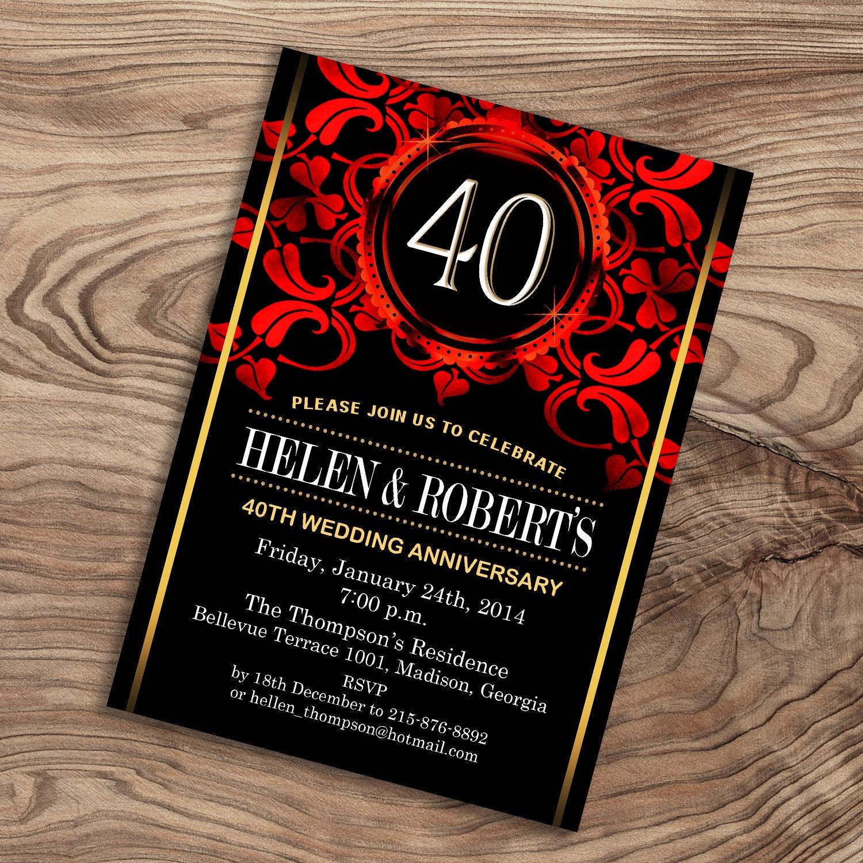 40th Wedding Anniversary Invitation / Black Red Gold / Digital | Etsy