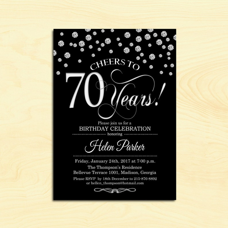 70th Birthday Invitation Any Age Cheers To 70 Years