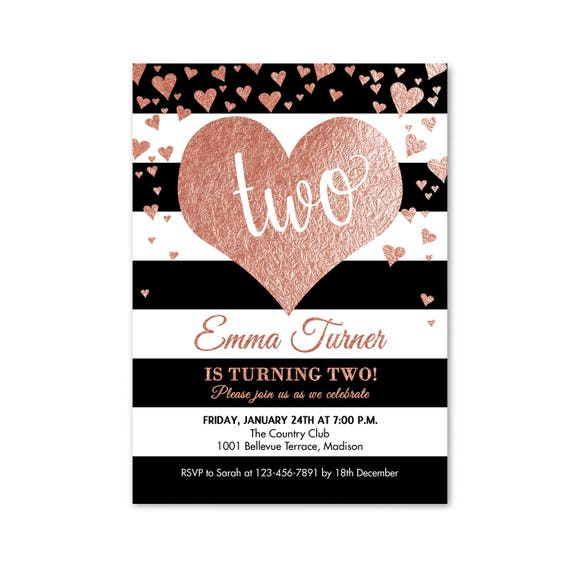 Second Birthday Invitation Heart 2nd Two Rose Gold Bday Invites Pink Black White Stripes Digital Printable Invite