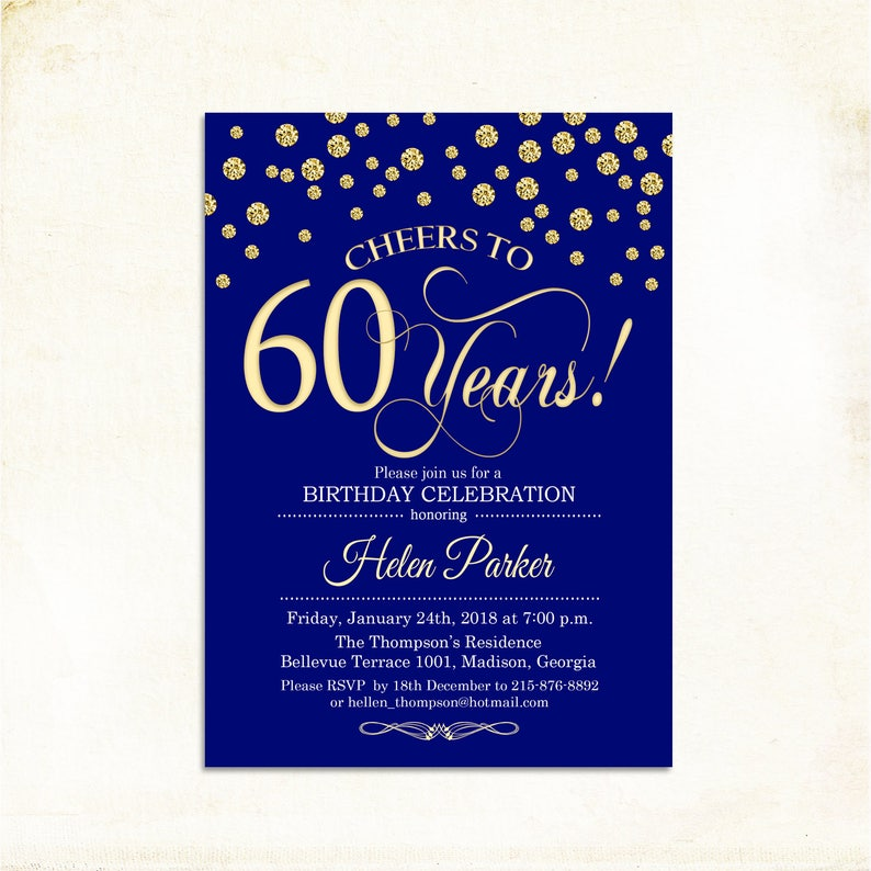 60th Birthday Invitation Any Age Cheers To 60 Years 50th