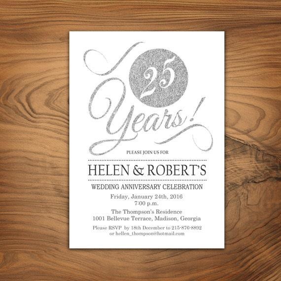 25th Wedding Anniversary Invitation Glitter Silver White Elegant Digital Printable Invitation Customized