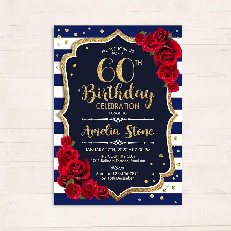 Rose noir argent diamant 60e anniversaire party invitations personnalisées