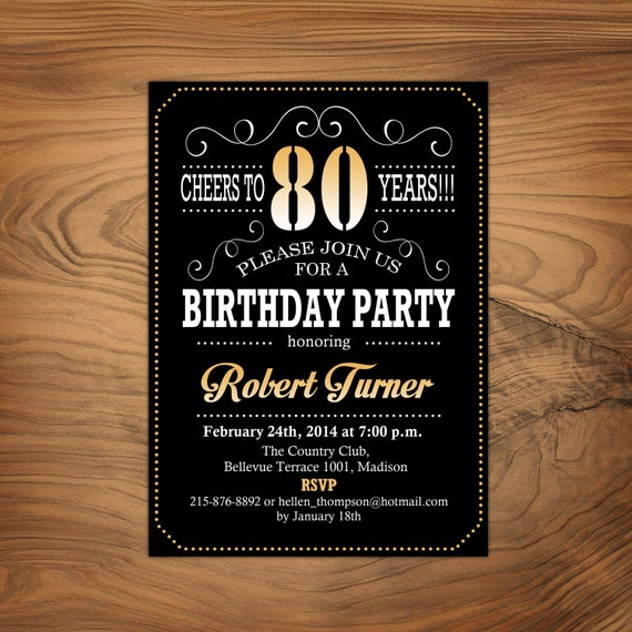 80th Birthday Invitation Cheers To 80 Years Any Age Gold