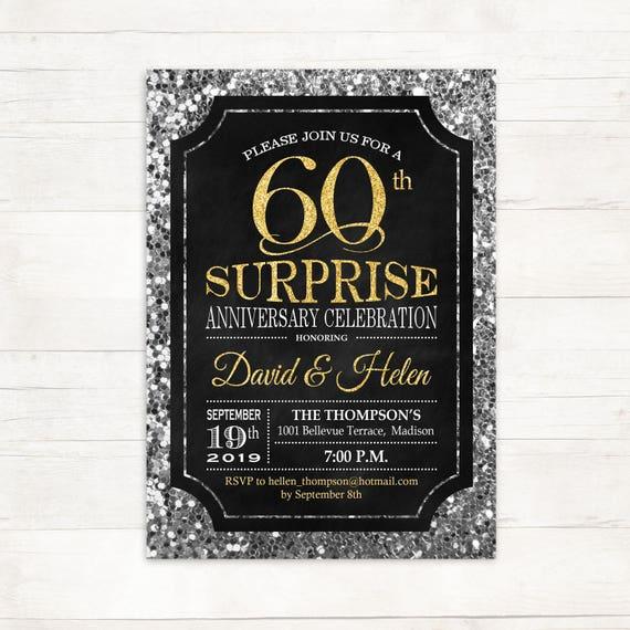 Surprise 60e Invitation Anniversaire De Mariage50enimporte Quelle Annéepaillettes Or Argent Noirtableaudigital Invitation Imprimable