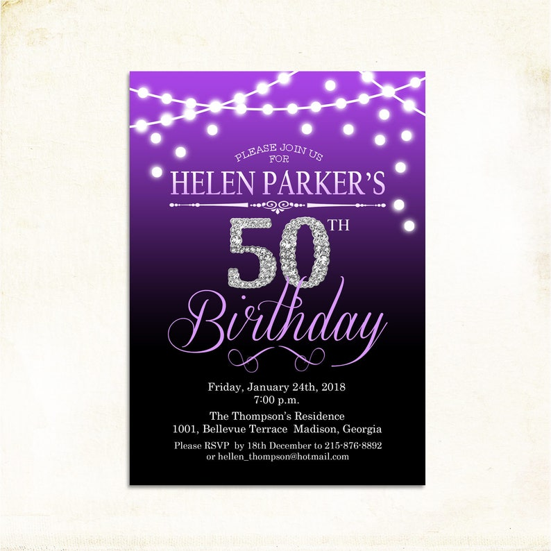 50th Birthday Invitation 60th Any Age Purple Silver Glitter