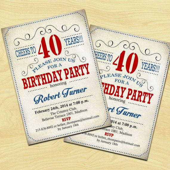 Red White Blue 40th Birthday Invitation 30th 50th 60th