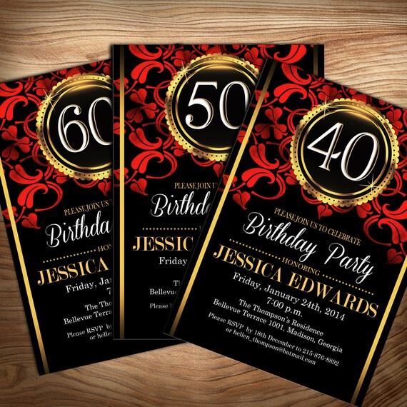 black red gold birthday party invitation digital printable etsy