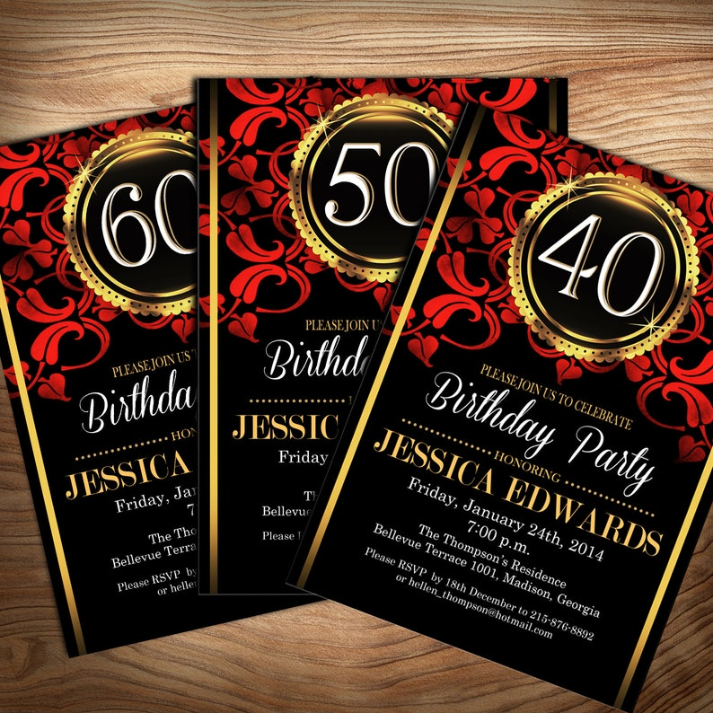 Black Red Gold Birthday Party Invitation Digital Printable