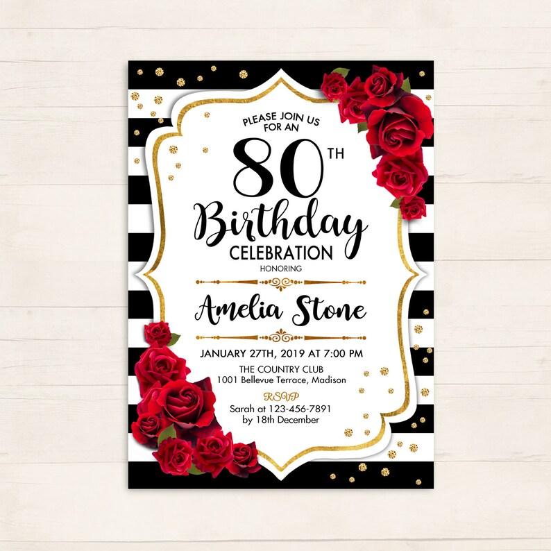 80th Birthday Invitation ANY AGE 70th 90th Red Black White