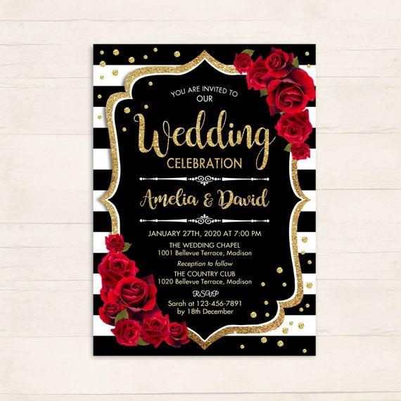 Wedding Invitation Floral Printable Wedding Gold Black Red White Stripes Roses Digital Printable Invitation Customized