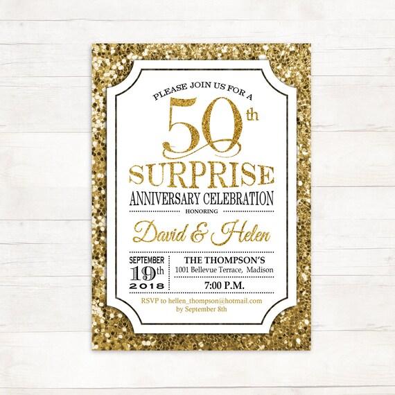 Surprise 50th Wedding Anniversary Invitation Any Year Etsy