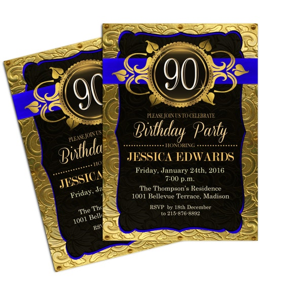 90th Birthday Invitation Royal Blue Gold Invite Digital