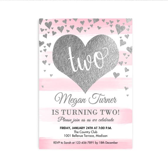 Pink Silver Birthday Party Invitation ANY AGE 1st 2nd 3rd