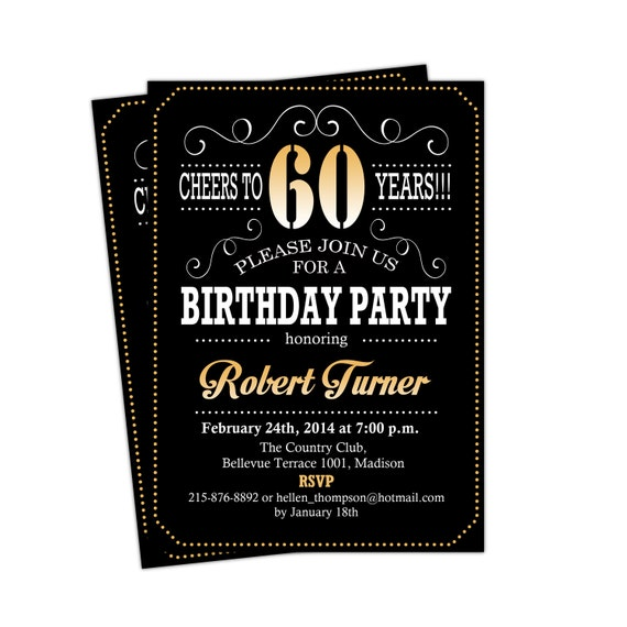 60th Birthday Invitation Cheers To 60 Years Any Age Gold