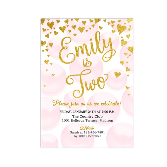 pink gold birthday party invitation 2nd birthday second etsy