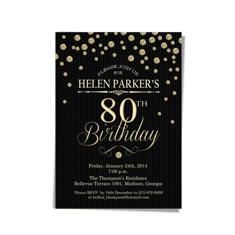 80th Birthday Party Invitation Gold Black 30th 40th