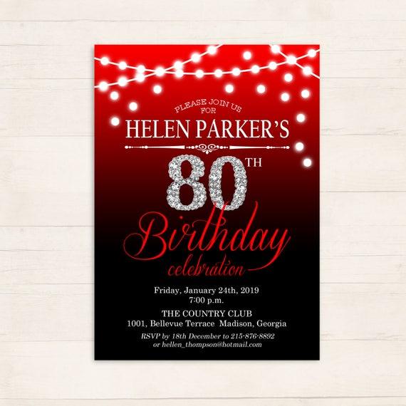 Red Black Silver Diamond 80Th Birthday Party Invitations