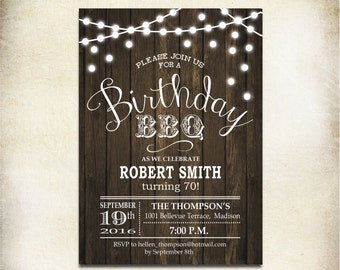 Birthday BBQ Invitation / 70th / Any Age / Wood Printable Rustic / Digital Invite