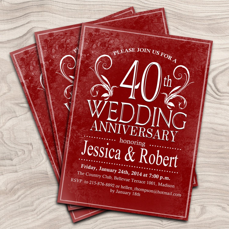 40th Wedding Anniversary Invitation / Ruby Red Anniversary   Etsy