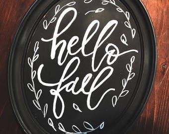 hello fall sign home decor calligraphy art seasonal