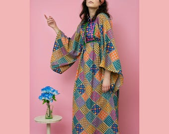 vintage 60s Saks Fifth Ave bell sleeve floral patchwork peasant maxi dress