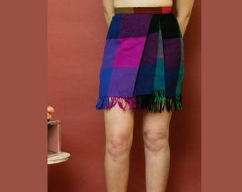 vintage 1990s Ann Taylor wool color block plaid fringe mini skirt