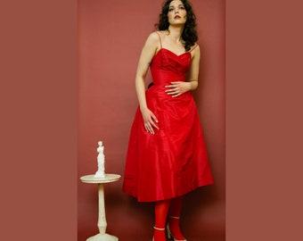 "RARE vintage 1950s Henri Bendel 'Young-Timers"" red satin evening dress"