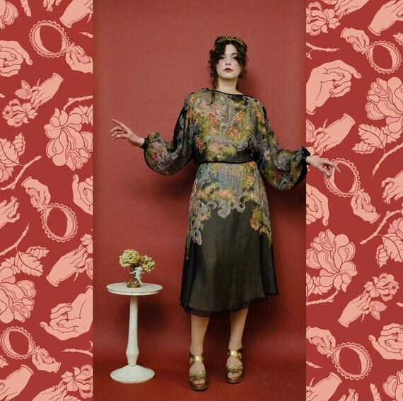 vintage 1980s Muney dolman peasant sleeve baroque… - image 1
