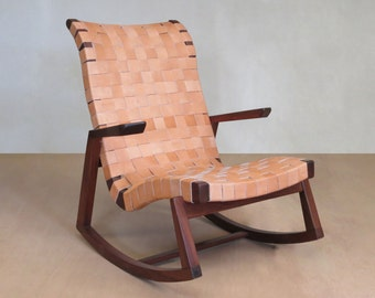 Mid Century Modern, Rocking Chair, Walnut, Barley Leather Handwoven Seat,  Lounge Chair, Living Room Fun, Handmade Furniture, Sustainable