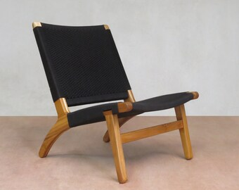 Custom Geometric Pattern Mid Century Modern Lounge Chair