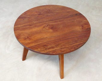 Modern Round Side Table, Handcrafted From Sustainably Sourced Tropical  Hardwoods, Elegant Modern Design, Royal Mahogany Or Rosita Walnut