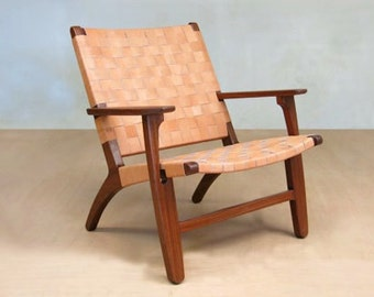 "Leather Mid-Century Modern Lounge Chair with Rosita Walnut Frame and Barley Leather Handwoven Seat. ""The Abuelo"" by Masaya and Com"