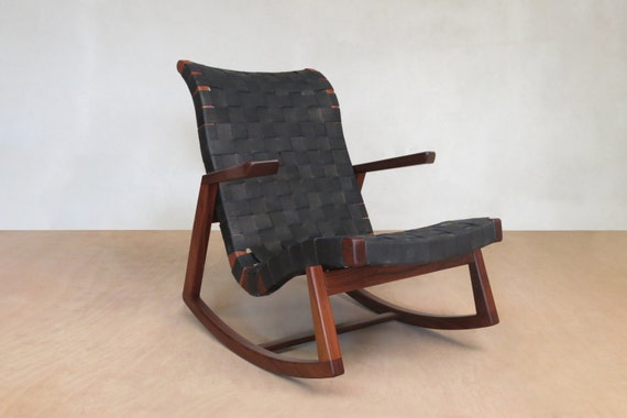 Enjoyable Midcentury Modern Rocking Chair Black Leather Handwoven Lounge Chair Living Room Chair Handmade Furniture Sustainable Wood Creativecarmelina Interior Chair Design Creativecarmelinacom