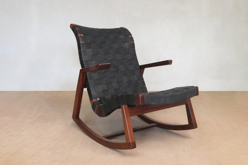 Midcentury Modern Rocking Chair Black Leather Handwoven Lounge Chair Living Room Chair Handmade Furniture Sustainable Wood