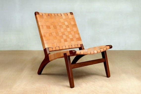 Amazing Mid Century Modern Woven Barley Leather Lounge Chair Walnut Danish Modern Accent Chair Hardwood Furniture Midcentury Lounger Pdpeps Interior Chair Design Pdpepsorg