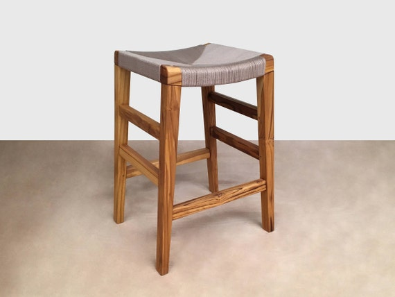 Fantastic Khaki Handwoven Barstools Bar Stool Mid Century Modern Hardwood Furniture Kitchen Island Seating Counter Stools Arm Chair Pabps2019 Chair Design Images Pabps2019Com