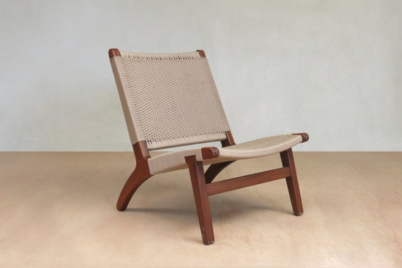 Astounding Mid Century Chair Accent Lounge Chair Walnut Frame Handwoven Khaki Chair Beige Sand Danish Modern Sustainably Sourced Tropical Hardwoods Squirreltailoven Fun Painted Chair Ideas Images Squirreltailovenorg