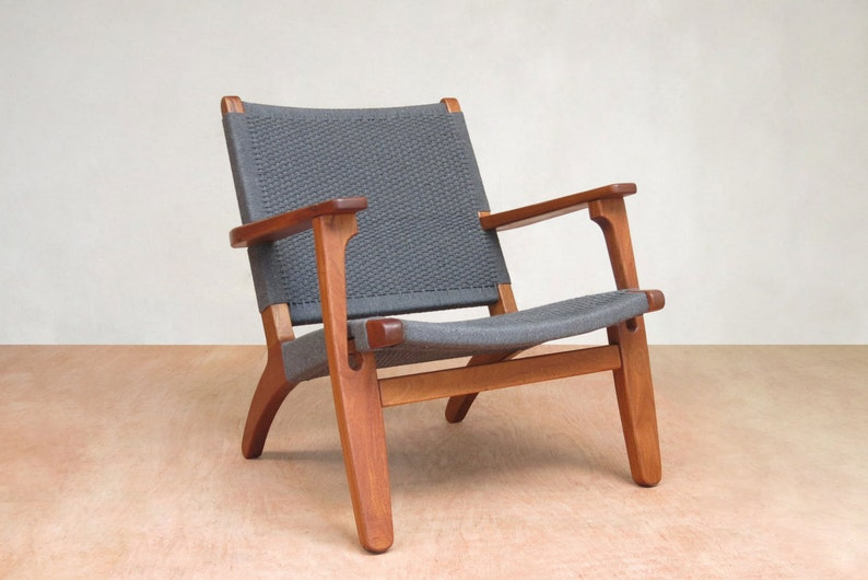 Remarkable Mid Century Modern Armchair Accent Chair Lounge Chair Mahogany Handwoven Charcoal Gray Living Room Retro Rustic Hardwood Furniture Ocoug Best Dining Table And Chair Ideas Images Ocougorg