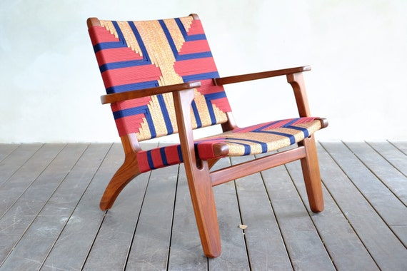 Admirable Mid Century Modern Armchair Accent Chair Lounger Chair Walnut Frame Handwoven Seat Navy Burgundy Linear Pattern Retro Modern Rustic Squirreltailoven Fun Painted Chair Ideas Images Squirreltailovenorg