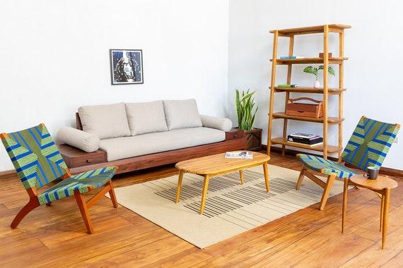 Salon chaise, Mid Century chaise, acajou, assise tissée à la main, Côte  d'émeraude, bleu et vert, salle de séjour, Mid Century Modern, motif ...
