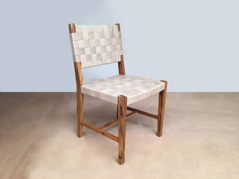 Dining Chair, Set Of Dining Chairs, Saddle Leather Woven Dining Chairs,  Danish Modern, Mid Century, Handcrafted, Hardwood, Furniture, Side