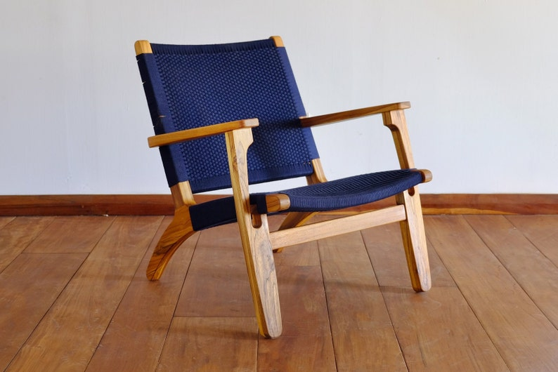 Mid Century Modern Armchair Navy Blue Accent Chair Lounger Etsy